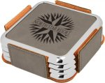 Leatherette Square Coaster Set with Silver Edge -Gray  Boss Gift Awards