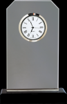 Clipped Corners Clear Glass Clock with Black Base Employee Awards